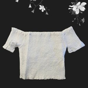 🛑 Romwe Smocked Off the Shoulder Crop White Top S